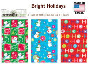 Premium Christmas Gift Wrap Bright Holidays Wrapping Paper for Men, Women, Boys, Girls, 3 Different Designs 5.5m X 100cm Rolls Included Snowman, Polar Bears, HOHOHO, Happy Holidays
