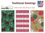 Premium Christmas Gift Wrap Traditional Greetings Wrapping Paper for Men, Women, Boys, Girls, 3 Different 5.5m X 100cm Rolls Included Reindeer, Ornaments, Seasons Greetings