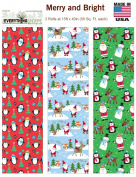 Premium Christmas Gift Wrap Merry and Bright HEAVEY WEIGHT THICK Wrapping Paper for Men, Women, Boys, Girls, 3 Different 4.6m X 100cm Rolls Included Xmas Trees, Reindeer, Snowman, Penguins, Santa