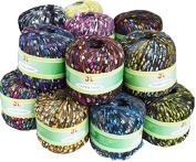 10 Balls Pack Twinkly Ladder Trellis Yarn 167 Yrds Each Ball, 10 Colours