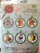 Something Special Counted Cross Stitch Animal Ornaments - Set of Six with Frames- 7.6cm Round