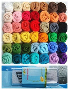 36pcs Mix Colours Wool Fibre Roving for Needle Felting DIY Fun Doll Needlework Raw Wool 5g/bag with 7pc Wool Needle Felting