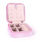 FOREVER YUNG Mini Portable Jewellery Box for Earring Ring Necklace Cosmetic Etc. 10*10*5cm Pink