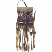 Twig & Arrow Printed Fringe With Flap Cross Body Bag