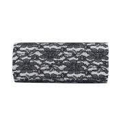 Elegant Lace Floral Fabric Flap Clutch Evening Bag - Diff Colours Avail