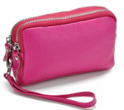Sannea Women's Faux Leather Wristlet Bag Double Zippered Organiser Clutch Wallet Purse