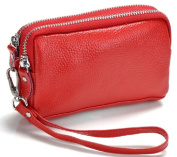 Sannea Women's Faux Leather Wristlet Bag Double Zippered Organiser Clutch Wallet Purse