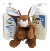 Cerave Baby Skin Care Bundle- Cerave Baby Wash & Shampoo & Cerave Baby Moisturising Lotion (240ml Ea) + Brown Bunny