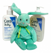 Cerave Baby Skin Care Bundle - Cerave Baby Wash & Shampoo & Cerave Baby Moisturising Lotion (240ml Ea) + Mint Green Bunny