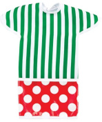 Green Stripes with Red Polka Dots Short Sleeved Toddler Laminated Bib-Keeps Your Little Darling Clean! Christmas Time!