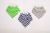 Cute Baby Bandana Drool Bibs for Boys, Extra Absorbent Organic Cotton, Dual Snaps Grows with Baby