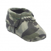Frontonline Baby Camo Pu Leather Toddler Tassel Crib Shoes