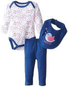 BON BEBE Baby-Girls Newborn Tweet Heart Bodysuit Bib and Legging Pant by Bon Bebe