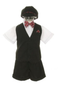 Dress Shorts Suit Tuxedo Vest Outfit Set-Infant Baby Boys & Toddler,Red Bowtie by SK
