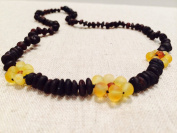 Raw 36cm Cherry Lemon Flower Unpolished Baltic Amber Beaded Necklace for Child, big kid, toddler, child, teenager. Cramps, Back ache, head ache. Certificated.