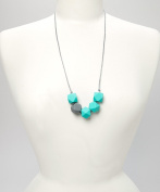 POLY TEETHING NECKLACE - TURQUOISE & GREY