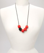 POLY TEETHING NECKLACE - CHERRY RED & BLACK