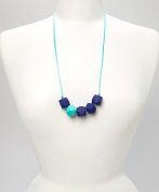 POLY TEETHING NECKLACE - NAVY BLUE & TURQUOISE