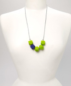 POLY TEETHING NECKLACE - LIME & NAVY BLUE