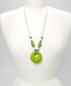 PIPER TEETHING NECKLACE - LIME, WHITE & GREY
