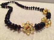28cm Cherry Lemon Flower Baltic Amber Teething Necklace Baby, Infant, and Toddlerit. Drooling Pain Natural Organic Beads