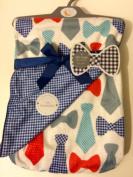 Baby Blanket Ties Bows Boy Reversible