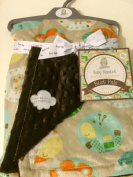 Baby Blanket Safari Animals Reversible to Popcorn