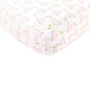 Touched By Nature Organic Fitted Crib Sheet, Pink Flowers
