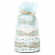 Hypoallergenic, Extra Soft, Non-Toxic, Eco-Friendly, Mini Nappy Cake In Anchors And Stripes