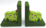 Bookends, Elephant, Pink, Decor, Home, Nursery, School, Library, Size 28cm X 0.9m, Green