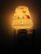 A.Shine LED Small Ceramic Night Lights, Night Lamp, Warm Yellow Light Baby Bedroom Bedlamp Flowers and Butterfly