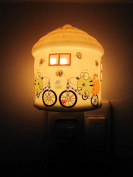 A.Shine Cartoon Bicycle and Butterfly House Shape Ceramic Night Light NightLight Plug in Wall Lamp Warm Yellow Light