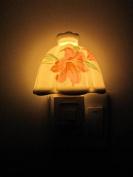 A.Shine Yellow Umbrella Shape Ceramic Night Light NightLight Plug in Wall Lamp with Beautiful Flower Leaves