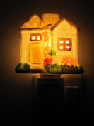 A.Shine Plug Switch Small Country Cottage Ceramic Night Light NightLight Fashion Aroma Lamp for Children Kids Bedroom Decoration