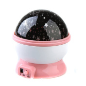 Newest trent 360 Degree Romantic Room Rotating Cosmos Star Projector , Lights Lamp Starry Star Mastar Moon Sky Night Projector Light Lamp Night Light Lamp [USB Charging Or Battery Powered]- Pink