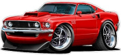 "1969 Ford Mustang Boss 429 Large 60cm x 48"" (1.2m Long) Wall Graphic Decal Sticker Man Cave Garage Decor Boys Room Decor"