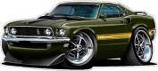 "1969 Ford Mustang Mach1 Large 60cm x 48"" (1.2m Long) Wall Graphic Decal Sticker Man Cave Garage Decor Boys Room Decor"