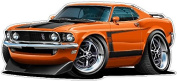 1969 Ford Mustang Boss 302 Large 1.2m long Wall Graphic Decal Sticker Man Cave Garage Decor Boys Room Decor