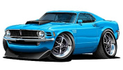 "1970 Ford Mustang Boss 429 Large 60cm x 48"" (1.2m Long) Wall Graphic Decal Sticker Man Cave Garage Decor Boys Room Decor"