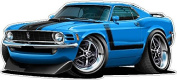 "1970 Ford Mustang Boss 302 60cm x 48"" (1.2m Long) Wall Graphic Decal Sticker Man Cave Garage Decor Boys Room Decor"