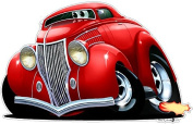 "1936 Ford Hotrod Streetrod 60cm x 48"" Wall Graphic Decal Sticker Man Cave Garage Decor Boys Room Decor"