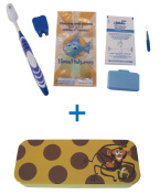 Flossfish - Orthodontic kit and yellow case with brown spots and Monkey