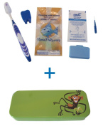 Flossfish - Orthodontic kit and green case with Monkey