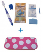 Flossfish - Orthodontic kit and magenta case with white spots