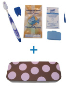Flossfish - Orthodontic kit and brown case with pink spots