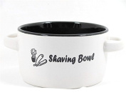 Ceramic White & Black Shaving Soap Bowl with Handles