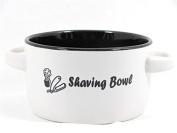 Ceramic White & Black Shaving Soap Bowl with Handles