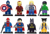 8 Mini Figures Superhero Set - Fits LEGO