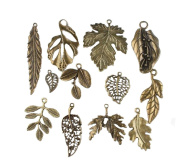 Vintage Bronze Mixed Tree Leaf Theme Tone Alloy Charms Finding Fit DIY Jewellery Making