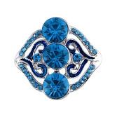 Godagoda Silver Colour Snap Button with Blue Enamel Heart and Rhinestones